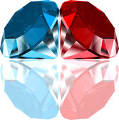 Red and blue diamonds. Vector — Stock Vector