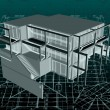 Architecture model house with blueprint. Vector — Imagen vectorial
