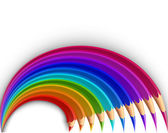 Colorful pencils in the shape of a rainbow. Vector — Stock Vector