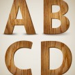 Grunge Wooden Alphabet Letters A, B, C, D. Vector — Stock Vector