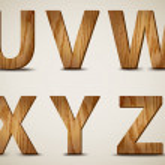 Wooden Alphabet Letters U, V, W, X, Y, Z. Vector — Stock Vector
