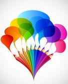 Colorido discurso burbujas con lápices de arte. vector — Vector de stock