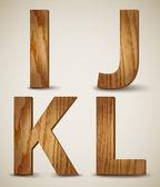 Grunge Wooden Alphabet Letters I, J, K, L. Vector — Stock Vector