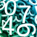 Set of digital numbers. Vector blue background — Stock Vector
