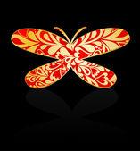 Gold ornament Schmetterling. Vektor — Stockvektor