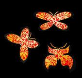 Set of gold butterflies. Vector — Stock Vector