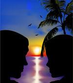 Para zakochanych w zachód słońca. wektor — Wektor stockowy