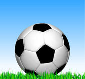 Soccer ball on the grass. Vector football — Vettoriale Stock
