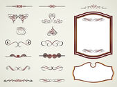 Labels frames and calligraphic elements. Vector — Stock Vector