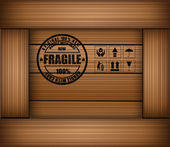 Safety fragile sticker icon on texture wooden box — Stock Vector