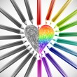 Heart With Color Pencils. Vector illustration — Imagens vectoriais em stock