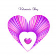 Valentine day card template with heart. Vector — Image vectorielle