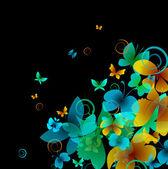 Světlé motýlů na černém pozadí. vektor — Stock vektor