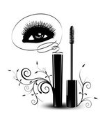 Ink for eyelashes with ornament. Vector — Stock Vector