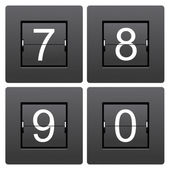 Numeric series 7 to 0 from mechanical scoreboard — Vettoriale Stock