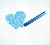 The blue heart not finished by a pencil — Stock Vector