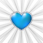 Shiny crystal love hearts on silver line — Stock Vector