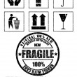 Safety fragile signs and stamp. Vector — Stock Vector