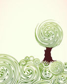 Hand Drawn ornate swirl grass and tree. Vector — Stock Vector