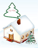 Gingerbread House with tree. Vector — Stock Vector