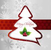 Cartoon Christmas Tree on silver card. Vector — Stock Vector