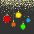 Christmas ball on grey background with snowflakes — Stockvektor