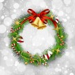Christmas garland with bells and holly berry — Imagen vectorial