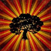 垃圾复古背景树。矢量 — 图库矢量图片