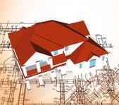 Casa de arquitectura. empate técnico de vetor — Wektor stockowy