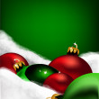 Xmas greeting card. Christmas red and green toys — Stock vektor