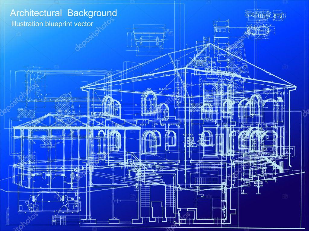 Architecturale Blauwdruk Achtergrond Vector Stockvector