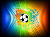 Abstract ink background with soccer ball. Vector — Stock Vector