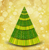 Christmas gold background with tree — 图库矢量图片