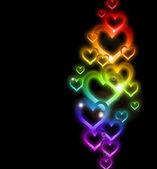 Rainbow Heart Border with Sparkles. Vector — Stock Vector