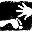 Vector de stock : Handprint And Footprint. Vector