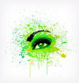 Grunge abstraction green make-up. Vector — Stock Vector