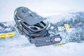 Snowboard with boots — Stock Photo
