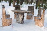 Table and chairs made of tree trunks — Stock Photo