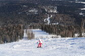 Mountain skiing view with snowboarder — Стоковое фото