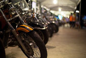 Motorcycles exhibited at motorcycle show — Foto de Stock