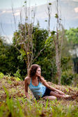 Woman as a part of tree in a jungle forest — Stock Photo
