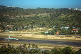 Landing strip of the airport with airplane — Stockfoto