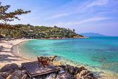 Two beach-chair beside the nice beach — Zdjęcie stockowe