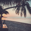 Sunset over the tropical beach in retro style — Stock Photo #42657619