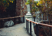 Walkway with columns and trees — Stockfoto