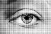 Abstract woman grey eye made from dots — Stockvektor