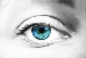 Abstract woman blue eye made from dots. Vector — Stock Vector
