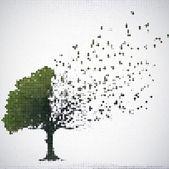 緑のハーフトーン ツリーの葉を持つ領空侵犯します。ベクトル — ストックベクタ