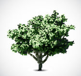 Green halftone tree. Vector — Stock Vector