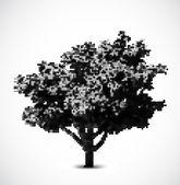Black halftone tree. Vector — Stock Vector